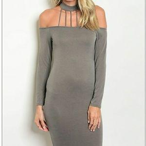 Gray fitted choker dress